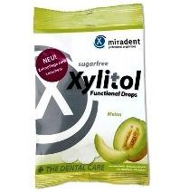 MIRADENT Xylitol Drops - przeciwpróchnicze cukierki z ksylitolem dla dzieci i dorosłych, 25 szt, smak melon