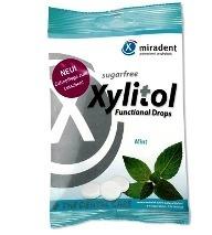 MIRADENT Xylitol Drops - przeciwpróchnicze cukierki z ksylitolem dla dzieci i dorosłych, 25 szt, smak mięta