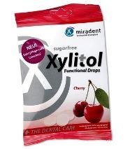 MIRADENT Xylitol Drops - przeciwpróchnicze cukierki z ksylitolem dla dzieci i dorosłych, 25 szt, smak wiśniowy