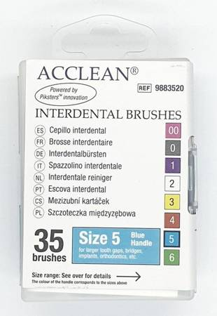 ACCLEAN Interdental 5 - szczoteczki międzyzębowe  LARGE + Implant+ ORTO, 0.56, niebieskie 35 szt