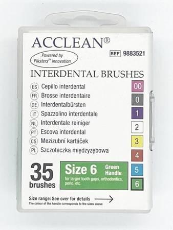 ACCLEAN Interdental 6 - szczoteczki międzyzębowe  LARGE + ORTO+ PERIO, 0.63, zielone 35 szt
