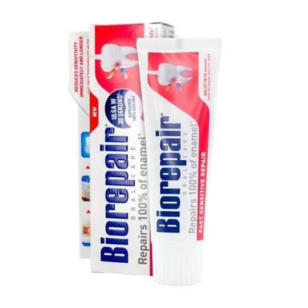 BIOREPAIR® Plus Sensitive - pasta do wrażliwych zębów z cząsteczkami Microrepair naprawiająca powierzchnię szkliwa, bez fluoru, 75 ml