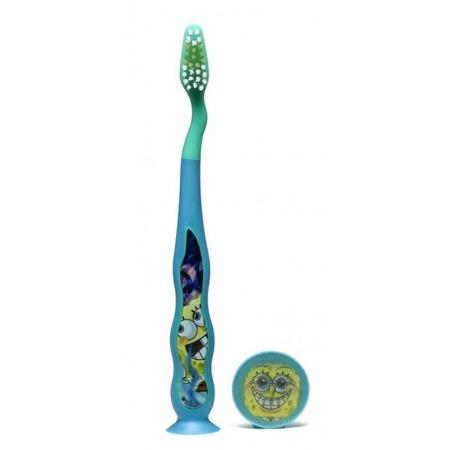 DR FRESH SPONGE BOB - szczoteczka do mycia zębów  dla dzieci z nakładką w 3D, od 3 roku życia