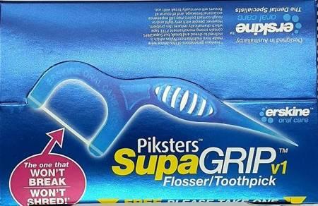 ERSKINE PIKSTERS Flosser supaGRIP 2w1 - wykałaczka z nitką w formie taśmy z PTFE do wąskich przestrzeni międzyzębowych, 50 sztuk