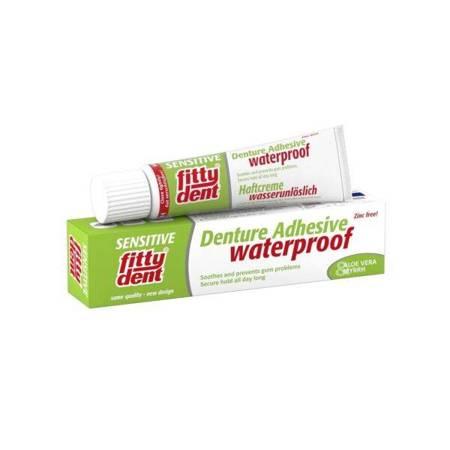 FITTYDENT Denture Adhesive Sensitive - super mocny, wodoodporny klej do mocowania protez zębowych z aloesem i mirrą, 40 g