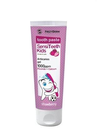 FrezyDERM Sensiteeth ochronna pasta dla dzieci od 6 roku życia z wapniem i fluorem, smak truskawkowy