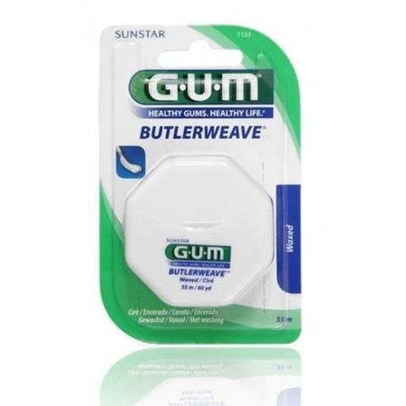 GUM Butlerweave Floss - nić dentystyczna płaska, woskowana do wąskich przestrzeni miedzyzębowych, 55 m