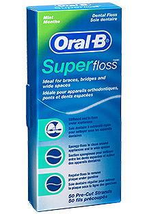 ORAL-B SuperFloss - Nić dentystyczna do czyszczenia aparatów ortodontycznych, mostów 50x60cm