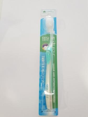ORTO DENT SILVER MIDI Turtle - antybakteryjna szczoteczka do mycia zębów z drobinkami srebra, seledynowa