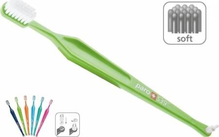 PARO  szczoteczka paro® S39 - szczoteczka do mycia zębów 2w1- z  miękkim włosiem  dla osób z  wrażliwymi dziąsłami, krwawieniami i paradontozą. Kombinacja szczoteczki manualnej i jednopęczkowej.