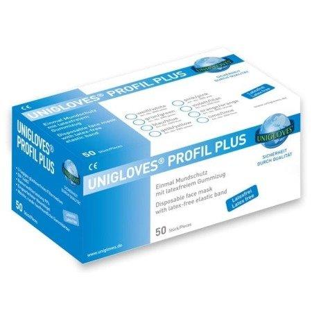 UNIGLOVES PROFIL PLUS 3 warstwowe maseczki ochronne IIR na gumkę, białe, 50 szt