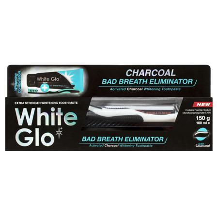 White Glo Total CHARCOAL BAD Breath Eliminator  wybielająca pasta z węglem aktywnym przeciw nieświeżemu zapachowi z ust 100 ml+ szczoteczka i wykałaczki gratis